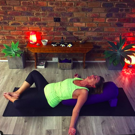 TriBalance yoga student spotlight Virginia White restorative reclining butterfly pose