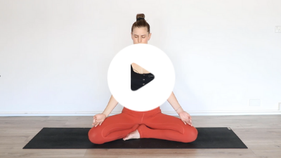 TriBalance TV yoga basics class for harnessing your energy with Cathy Aganoff in seated meditation pose