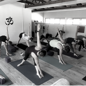 About TriBalance values community yoga class revolved triangle pose