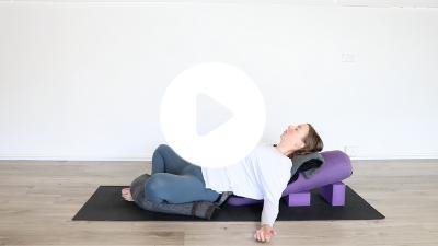 TriBalance TV Restorative yoga class reclining butterfly pose with Emma Baker