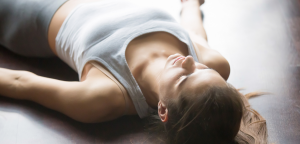 TriBalance yoga student savasana yoga workshops